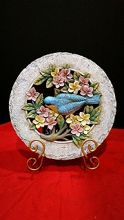DECORATIVE STONE ROUND WITH BLUE BIRD in Bay City MI, Keit's Flowers