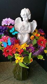BIRDBATH WITH FLORAL WREATH & CHERUB in Bay City MI, Keit's Flowers