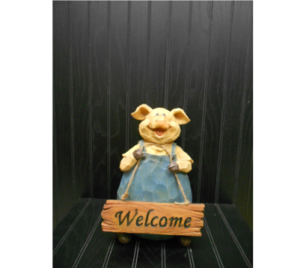 Pig Welcome Figure in Ionia MI, Sid's Flower Shop