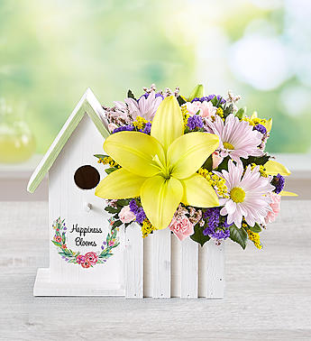 Happiness Blooms Birdhouse Yellow-Small in El Cajon CA, Conroy's Flowers