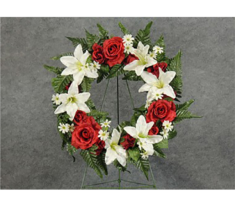 Red and White Silk Cemetery Wreath in Perrysburg & Toledo OH  OH, Ken's Flower Shops