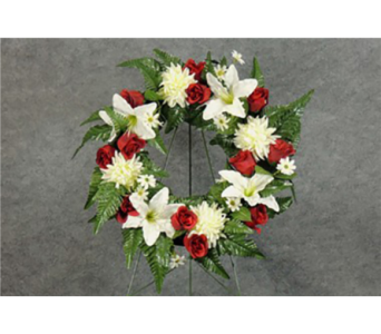 White with Red Silk Memorial Wreath in Perrysburg & Toledo OH  OH, Ken's Flower Shops