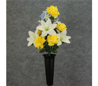 White, Yellow, Blue Silk Cemetery Vase in Perrysburg & Toledo OH  OH, Ken's Flower Shops