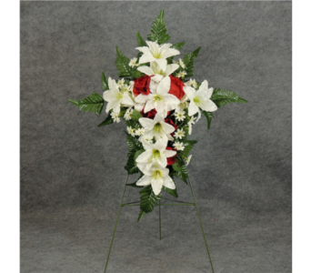 White with Red Silk Memorial Cross in Perrysburg & Toledo OH  OH, Ken's Flower Shops