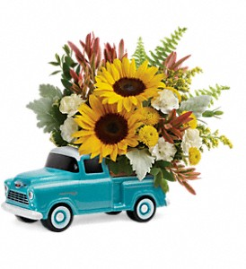 Teleflora's Chevy Pickup Bouquet in Santa Monica CA, Edelweiss Flower Boutique