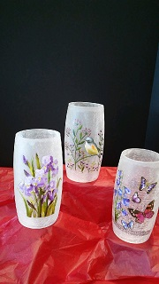 9 FLORAL GLASS CRACKLED VASE/CANDLE HOLDER in Bay City MI, Keit's Flowers