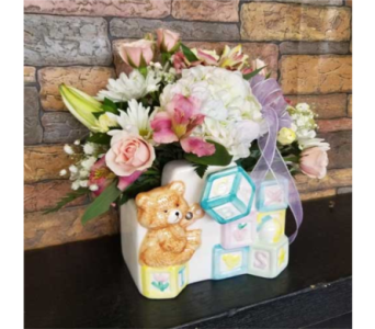 Baby Bear with Blocks  in Chattanooga TN, Chattanooga Florist 877-698-3303