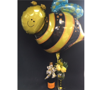 Champagne and Bee Balloon in Portland OR, Portland Florist Shop