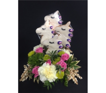 4 Unicorn Cookies with Flowers in Portland OR, Portland Bakery Delivery