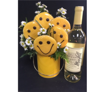 Wine and Smiley Cookies in Portland OR, Portland Bakery Delivery