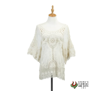 Cream Crochet and Lace Top in Pendleton IN, The Flower Cart