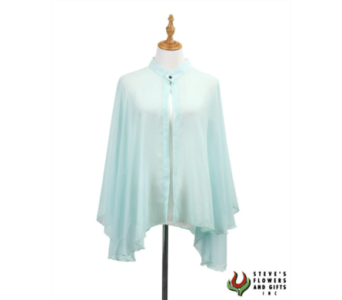Aqua Chiffon Cape with Snap in Pendleton IN, The Flower Cart