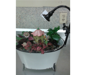 Fairy Garden in a Tub in North Bay ON, The Flower Garden