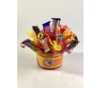 KC Chiefs Candy Bouquet in Wichita KS, Tillie's Flower Shop