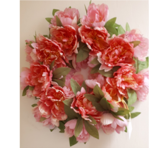 Pink Peony Wreath in North Bay ON, The Flower Garden