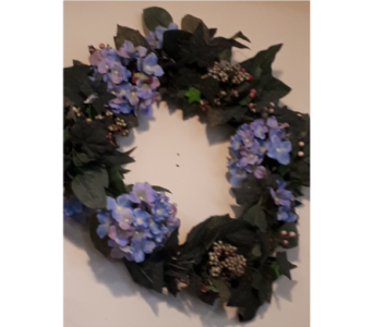 Hydrangea Grapevine Wreath in North Bay ON, The Flower Garden