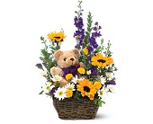 Basket and Bear Arrangement by Petals & Stems in Dallas TX, Petals & Stems Florist