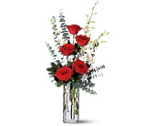 Red Roses and White Orchids by Petals & Stems in Dallas TX, Petals & Stems Florist