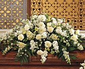 Pure White Casket Spray by Petals & Stems in Dallas TX, Petals & Stems Florist
