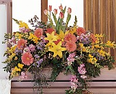 Blooming Glory Casket Spray by Petals & Stems in Dallas TX, Petals & Stems Florist