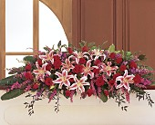 Amethyst and Ruby Casket Spray by Petals & Stems in Dallas TX, Petals & Stems Florist