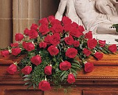 Blooming Red Roses Casket Spray in Dallas TX, Petals & Stems Florist