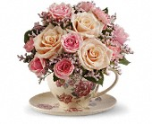 Teleflora's Victorian Teacup Bouquet in Edmonton AB, Petals On The Trail