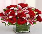 Red Rose & Lily Cube Bouquet