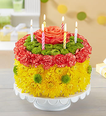 Birthday Wishes Flower Cake Yellow-Large in El Cajon CA, Conroy's Flowers