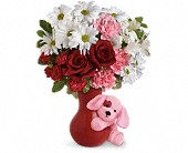 Send A Hug Puppy Love Bouquet with Red Roses in Jackson MI, Brown Floral Co.