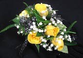 5 Yellow Sweetheart Rose Wristlet Corsage in Wichita KS, Tillie's Flower Shop