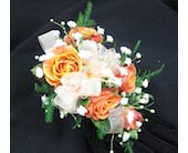 5 Orange Sweetheart Rose Wristlet Corsage in Wichita KS, Tillie's Flower Shop