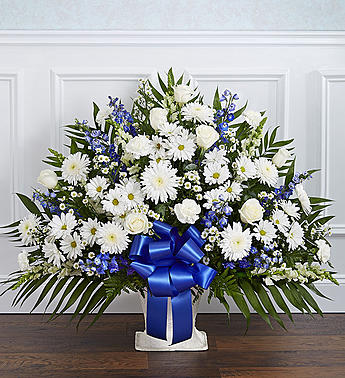 Heartfelt Tribute Floor Basket-Blue & White in El Cajon CA, Conroy's Flowers