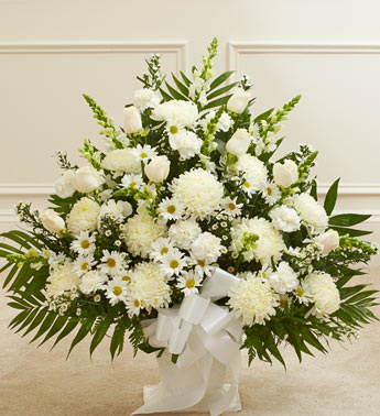 Heartfelt Tribute Floor Basket Arrangement - White in El Cajon CA, Conroy's Flowers