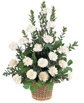 White Carnation Sympathy Basket in Las Vegas NV, A French Bouquet