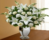 All White Arrangement in Silver Vase in El Cajon, California, Conroy's Flowers