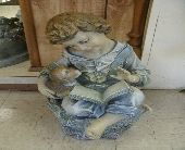 Reading Boy with Dog Figurine in Ionia MI, Sid's Flower Shop
