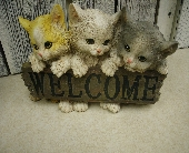 Cat Welcome Sign in Ionia MI, Sid's Flower Shop