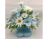 Silk Blue BootiesArtificial Arrangement in Wichita KS, Tillie's Flower Shop