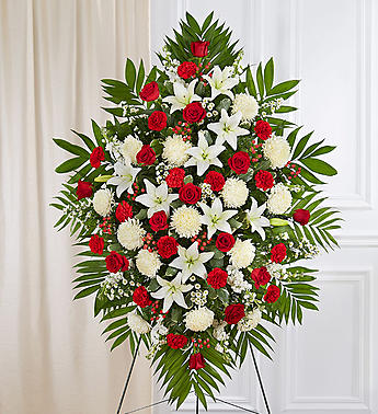 Red & White Sympathy Standing Spray-Large in El Cajon, California, Conroy's Flowers