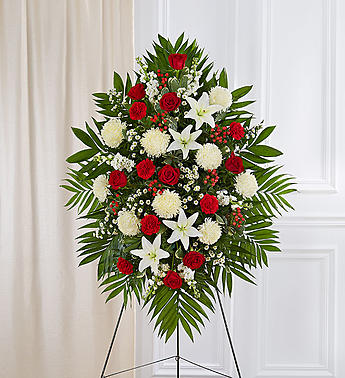 Red & White Sympathy Standing Spray-Small in El Cajon, California, Conroy's Flowers