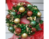 Permanent botanical ornament wreath in Ellicott City MD, The Flower Basket, Ltd