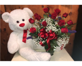 A Dozen and A Bear  in Methuen MA, Martins Flowers & Gifts