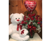 Two Dozen, A Bear, and a Balloon  in Methuen MA, Martins Flowers & Gifts
