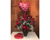 Two Dozen, A Balloon and A Box of Truffles  in Methuen MA, Martins Flowers & Gifts