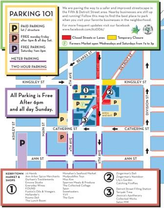 Parking Map in Ann Arbor MI, Lily's Garden