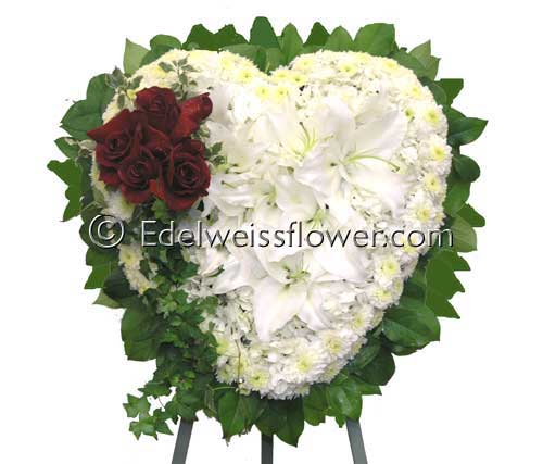 Lily & roses heart in Santa Monica CA, Edelweiss Flower Boutique