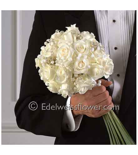 White rose beaded bridal bouquet nosegay santa monica florist and view larger mightylinksfo
