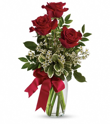 Thoughts of You Bouquet with Red Roses in Brownsburg IN, Queen Anne's Lace Flowers & Gifts