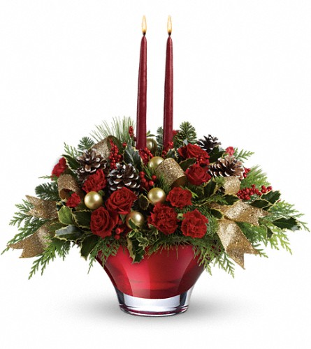 Teleflora's Holiday Flair Centerpiece in Athens GA, Flower & Gift Basket